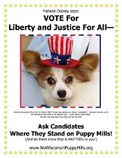 Dooley wants you to vote for candidates who will stop puppy mills.