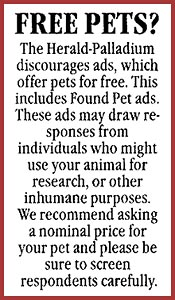 Newspaper classified discouraging Free To Good Home ads.