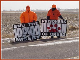 Thorp Dog Auction protest, 11 March 09: End the Misery, Prisoners of Greed