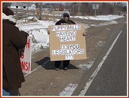 Thorp Dog Auction protest, 11 March 09: Puppy Millers Have No Heart -- Do You, Legislators?