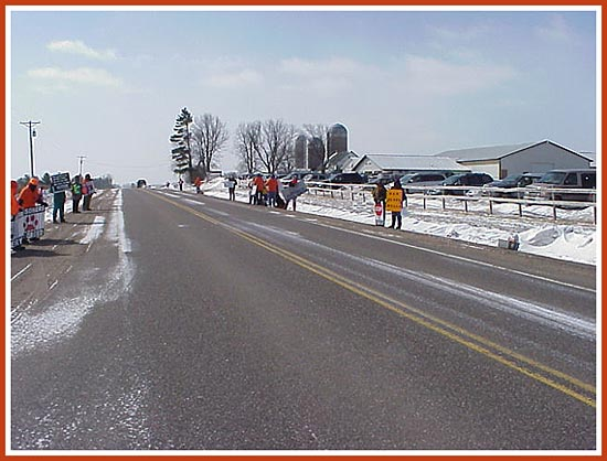 Thorp Dog Auction, 11 Mar 09: 50 protesters, frigid temperatures