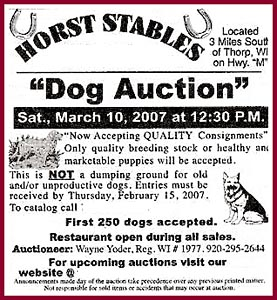 "The Ad for the Thorp Dog Auction at Horst Stables. Note ""Only Quality breeding stock or healthy and marketable puppies will be accepted."""