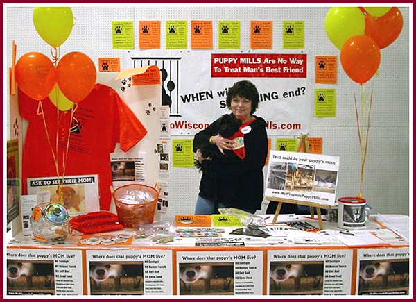 Volunteers from the Appleton, WI, No Wisconsin Puppy MIills group set up an informational table at the Oshkosh Pet Expo.